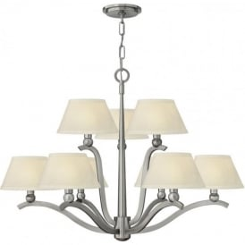 WHITNEY large 9 light brushed nickel ceiling light