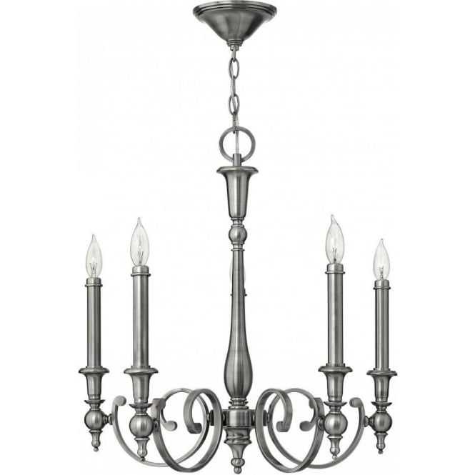 YORKTOWN antique nickel chandelier (5 lights) - Traditional Antique Nickel Hanging Ceiling Light With Long Drop