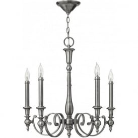 YORKTOWN antique nickel chandelier (5 lights)