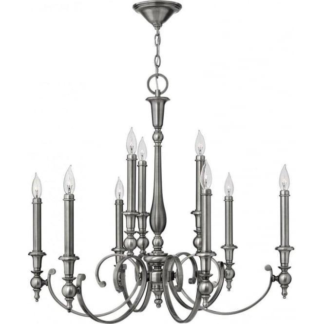 YORKTOWN large antique nickel chandelier (9 lights) - Antique Nickel Chandelier For High Ceilings, 9 Candle Style Lights