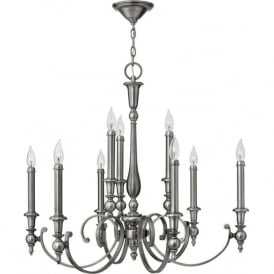 YORKTOWN large antique nickel chandelier (9 lights)