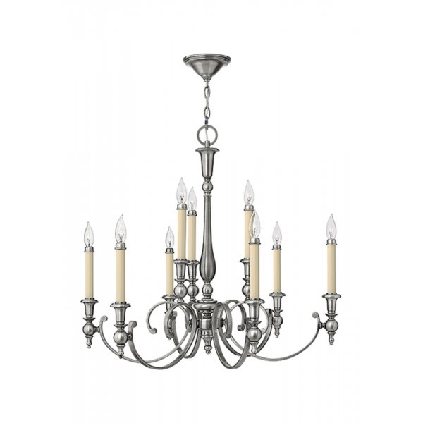 YORKTOWN large antique nickel chandelier (9 lights) - Antique Nickel Chandelier For High Ceilings, 9 Candle Style Lights