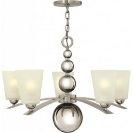 ZELDA Art Deco nickel chandelier with frosted glass shades - 5 lights