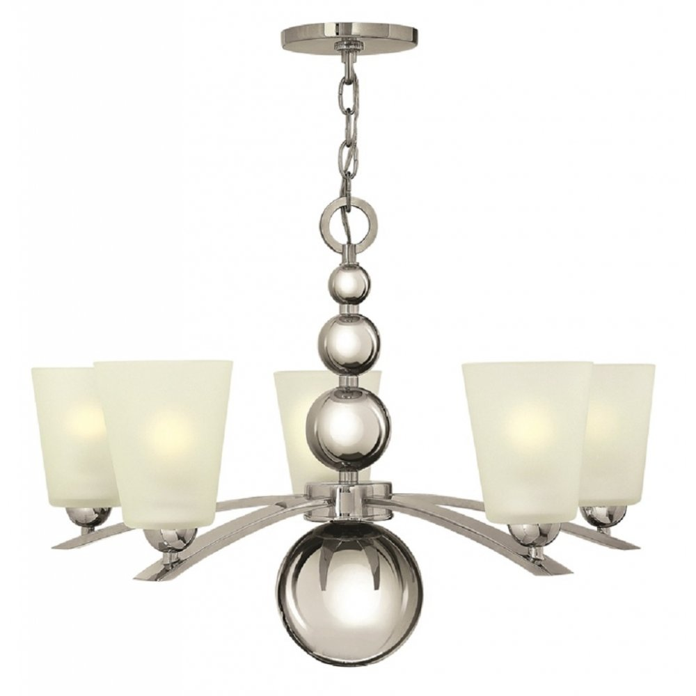 Art deco style 5 light chandelier in polished nickel with for American classic lighting