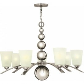 ZELDA Art Deco nickel chandelier with frosted glass shades - 7 lights