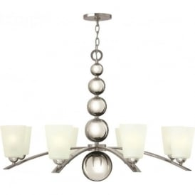 ZELDA Art Deco nickel chandelier with frosted glass shades - 8 lights