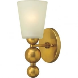 ZELDA vintage brass wall light with frosted glass shade