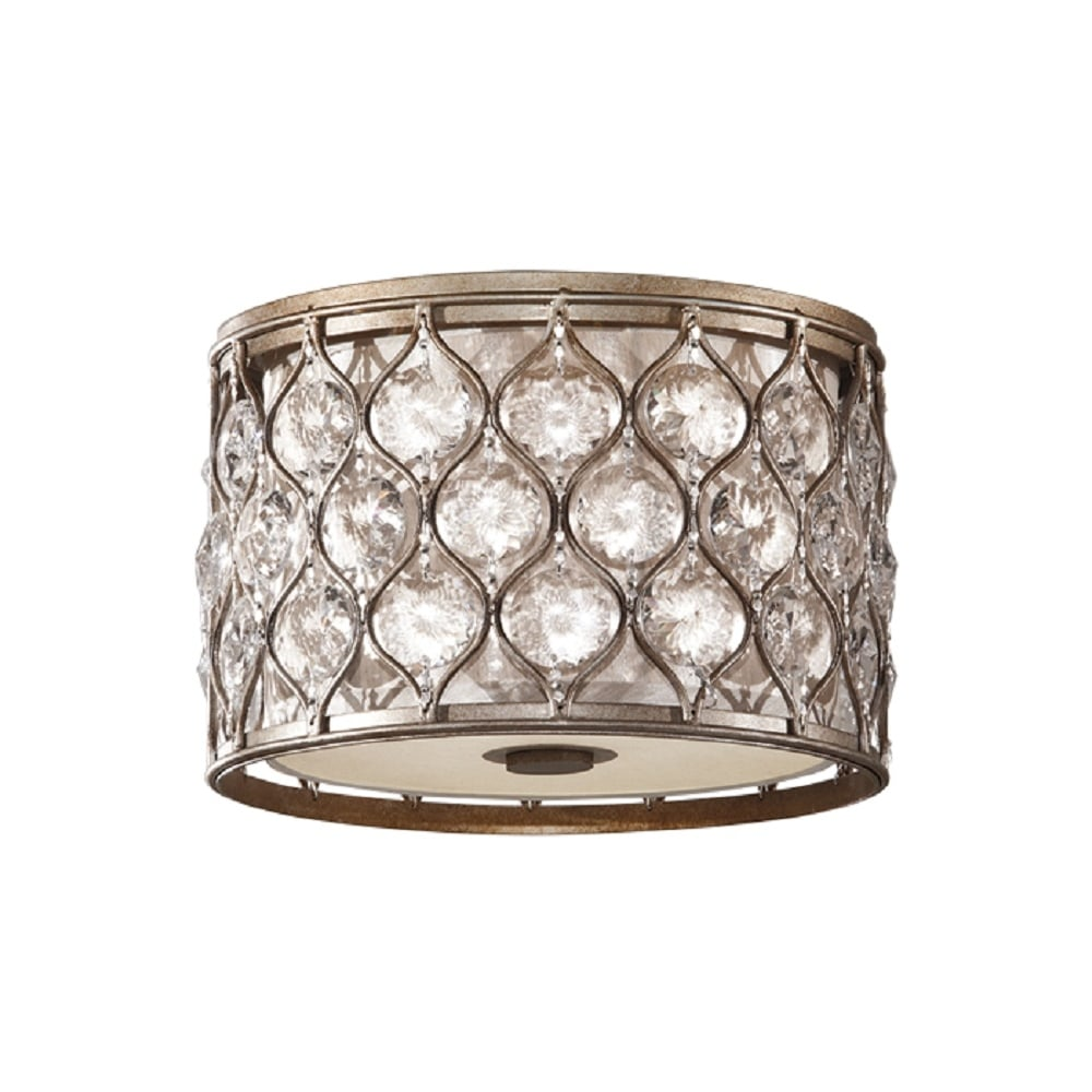 Lucia flush fit low ceiling light in burnished silver dressed with bauhinia crystals