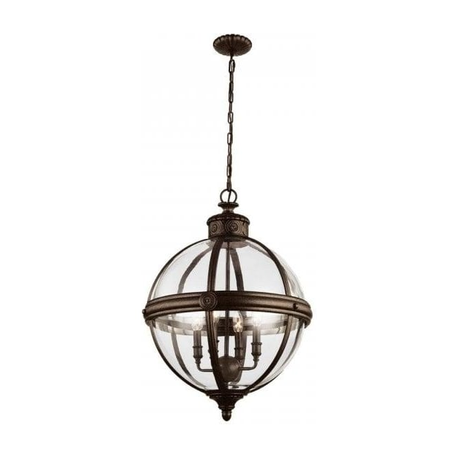 Traditional Glass Globe Ceiling Pendant With Decorative
