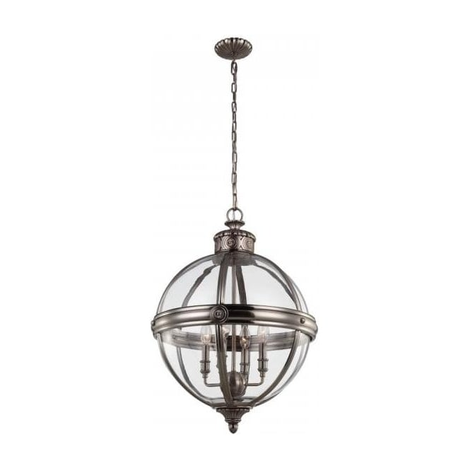 Traditional victorian style glass globe pendant with nickel detailing adams victorian globe pendant light antique nickel mozeypictures Images