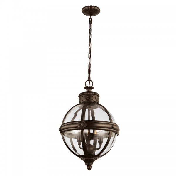 Globe Shaped Clear Glass Ceiling Pendant Light With Bronze