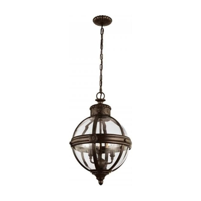 Globe shaped clear glass ceiling pendant light with bronze detailing adams victorian globe pendant light bronze mozeypictures Images