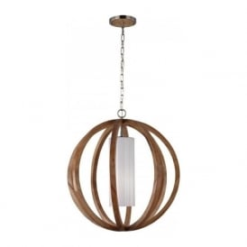 ALLIER chic rustic style large wooden ceiling pendant light