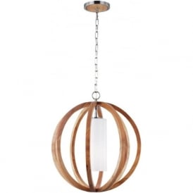 ALLIER chic rustic style small wooden ceiling pendant light
