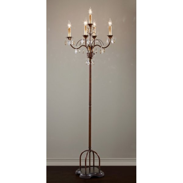 Candelabra Chandelier Style Floor Lamp In Dark Metal With