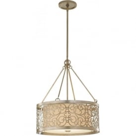 ARABESQUE ceiling pendant light in silver leaf finish