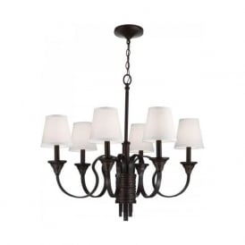 ARBOR CREEK traditional bronze 6 light chandelier with shades