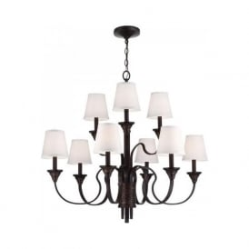 ARBOR CREEK traditional bronze 9 light chandelier with shades