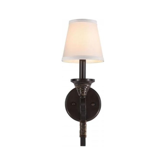 Single Bronze Wall Light With Linen Ivory Candle Shade