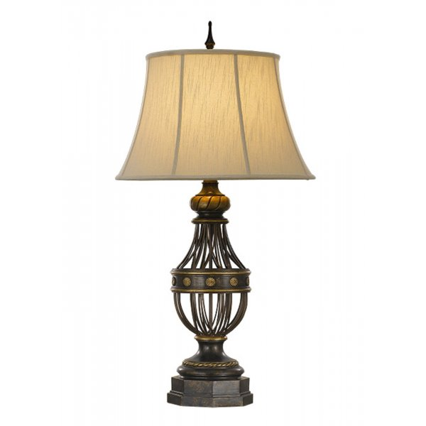 Traditional antique bronze table lamp with lighter brushed for Brown table lamp shades