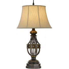 AUGUSTINE antique brown traditional table lamp with shade