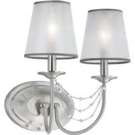AVELINE Edwardian twin wall light with delicate detailing and oranza shades