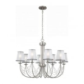 AVELINE large 8 light Edwardian chandelier with organza shades