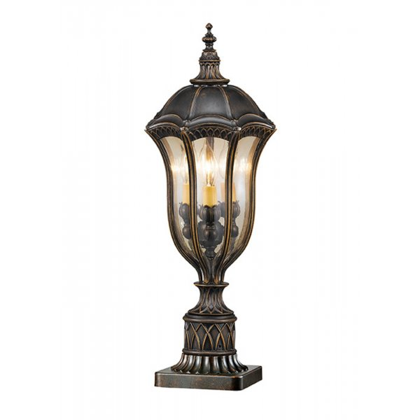 Garden Pedestal Or Gatepost Light In Dark Walnut With Gold Tinted Glass
