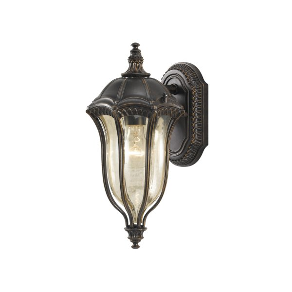 Baton Rouge Outdoor Pedestal Lantern By Feiss: Victorian Or Edwardian Outdoor Wall Light, Brown, Gold