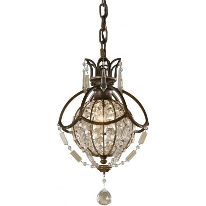 Bellini Mini Chandelier Style Bronze And Crystal Pendant Light