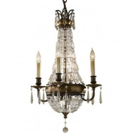 BELLINI period style chandelier in bronze with antique crystal