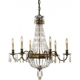 BELLINI traditional bronze chandelier with antique quartz crystal