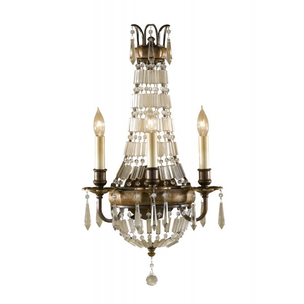 Traditional Crystal Wall Lights : Chandelier Style Wall Sconce, Antique Dark Bronze with Crystal