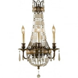 BELLINI traditional bronze wall sconce with crystal