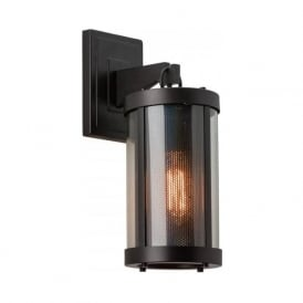 BLUFFTON rustic bronze wall light with fine mesh shade