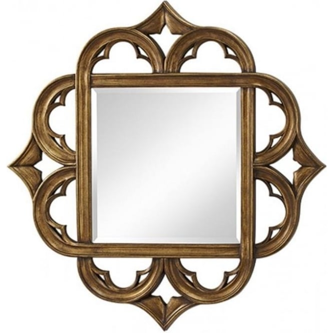 Traditional Large Square Mirror with Antique Gold Gothic Frame