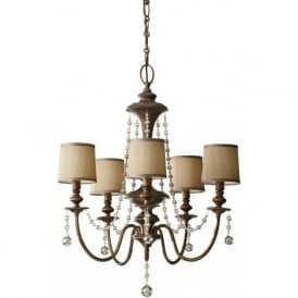 CLARISSA traditional 5 light antique gold chandelier