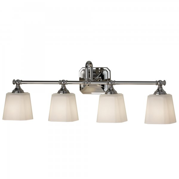 Bathroom long bar wall light fitting with 4 opal glass shades - Traditional bathroom mirror with lights ...
