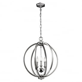 CORINNE orb pendant with rings of polished nickel encrusted with crystal - medium