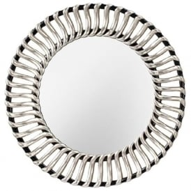 COSMO glass wall mirror, decorative silver and black frame
