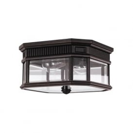 COTSWOLD LANE IP44 flush fitting traditional porch ceiling light - bronze