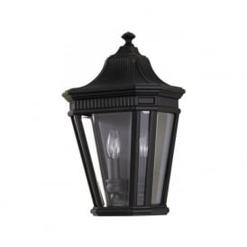 COTSWOLD LANE traditional flush fitting garden wall lantern - black