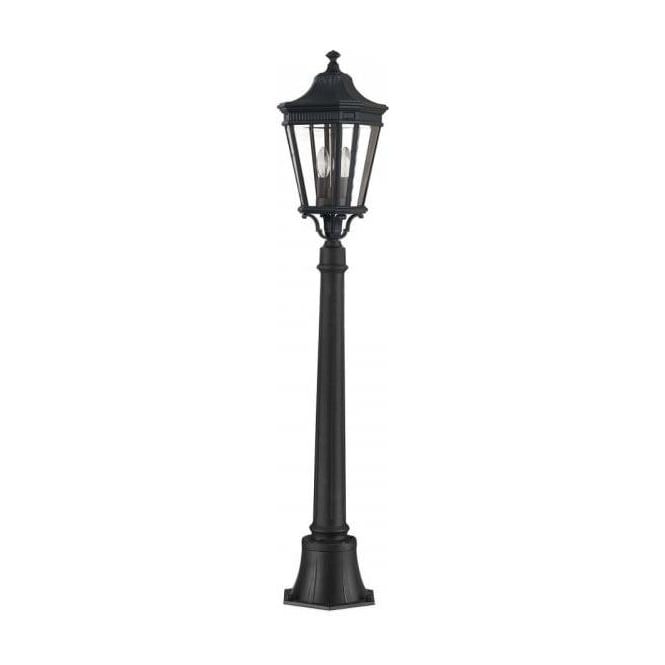 Small Half Size Outdoor Garden Lamp Post in Black with Lantern Head
