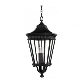 COTSWOLD LANE traditional hanging porch lantern - large black