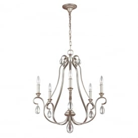 DEWITT traditional 5 light French provincial chandelier with crystal teardrops