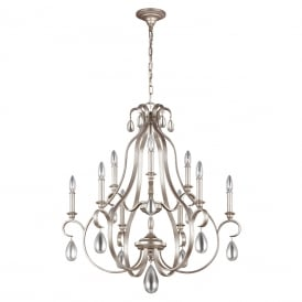 DEWITT traditional 9 light French provincial chandelier with crystal teardrops