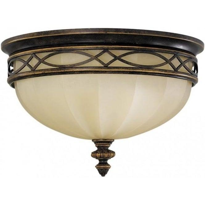 edwardian flush fitting low ceiling light in dark walnut amber glass