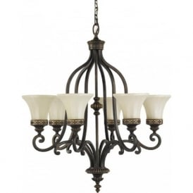 DRAWING ROOM traditional 6 light Edwardian chandelier