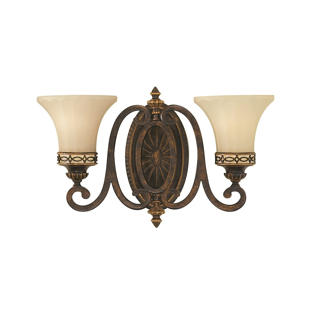Twin Edwardian Wall Light, Walnut Brown Metal with Cream Glass Shades