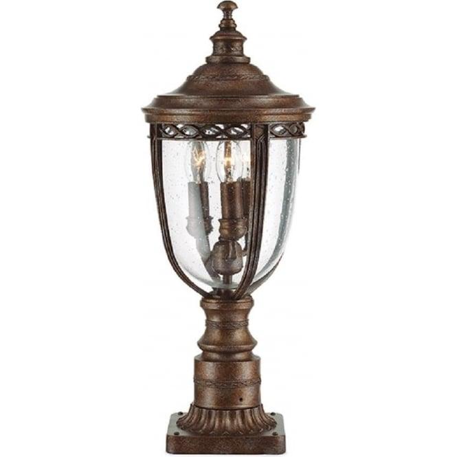 Simplistic Victorian Entrance Pillar Light: Victorian Antique Bronze Outdoor Gate Post Lantern Light, IP44